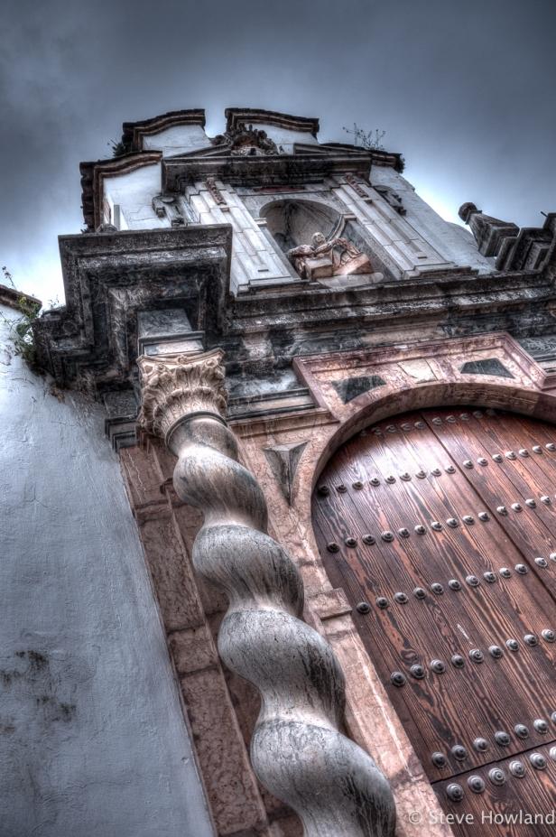 A baroque church façade in Cordoba, Spain